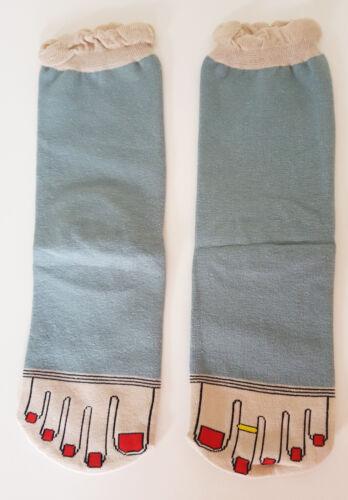 Weird Toe print Socks Funny Nails Joke Gift UK Size 3-6 EUR 36-39 Ring NEW UK