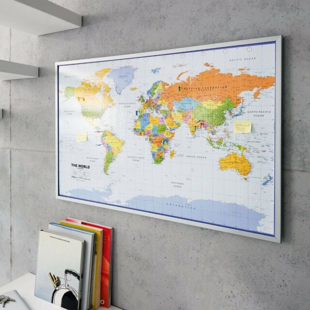 Pinboard map of the world 90 x 60 cm includes 12 flag pins english world map atlastravel pinboard cork pin board poster 12 flag pins framed 90 x 60 gumiabroncs Gallery