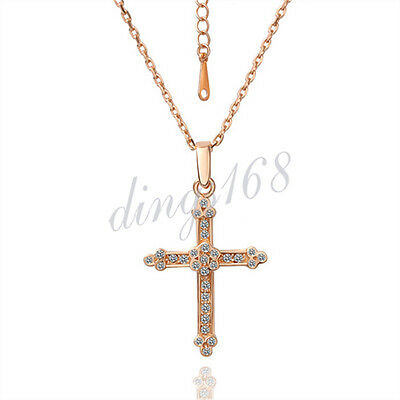 Honest 18k Rose Gold Plated Gp Shiny Crystal Cross Pendant Fashion Jewelry Chain Necklace Set H0080 Warm And Windproof Necklaces & Pendants
