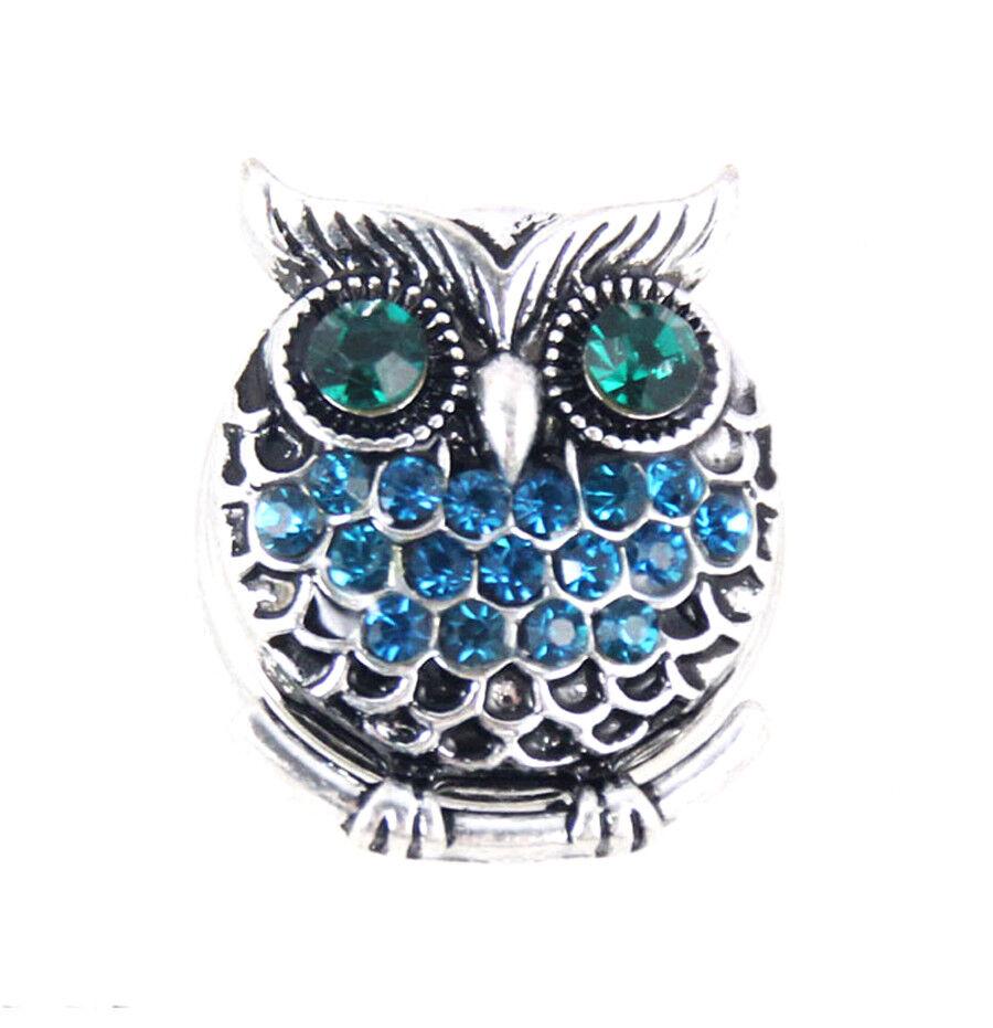 3DCrystal Owl Chunk Charm Snap Button Fit For Noosa Necklace//Bracelet NSKZ119