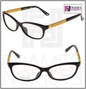 15ebdd83e3 GUCCI 3708 Black Gold Plated Square RX Eyeglasses Optical Frame 53mm ...