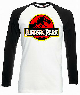 Vintage Style Jurassic Park LS Baseball T-Shirt Unisex, New Jurassic World