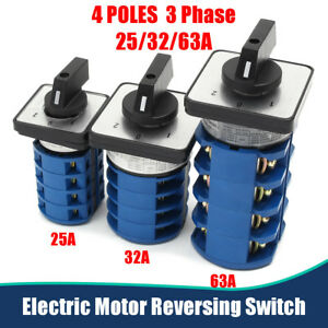 Electric motor reversing switch 3 phase 25 32 63amp or 4 for Reversing switch for single phase motor