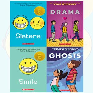 Raina-Telgemeier-Collection-Sisters-4-Books-Set-Drama-Smile-Ghosts-NEW-Paperback
