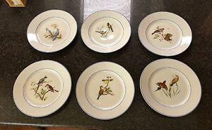 Image is loading VA-Vista-Alegre-Portugal-Porcelain-Bird-Birds-Salad- & VA Vista Alegre Portugal Porcelain Bird Birds Salad Plates set of 6 ...