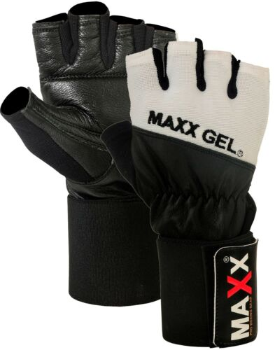Maxx Gel Weight Lifting Body Building Training Gym Straps Bar Leather Gloves
