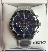 SEIKO Men's Core Series Stainless Steel Blue Dial Solar Chronograph WATCH SSC445