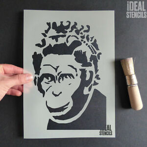 Banksy Queen Monkey Stencil Reusable Wall Art Decor graffiti Ideal ...