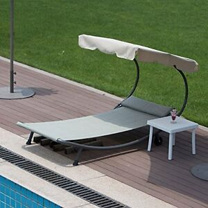 Outdoor Portable Chaise Lounge Chair Hammock Bed With Sun Shade And
