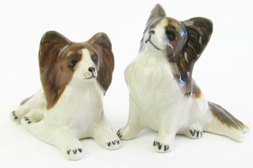 Miniature Ceramic Papillon Dog Figurines Set//2