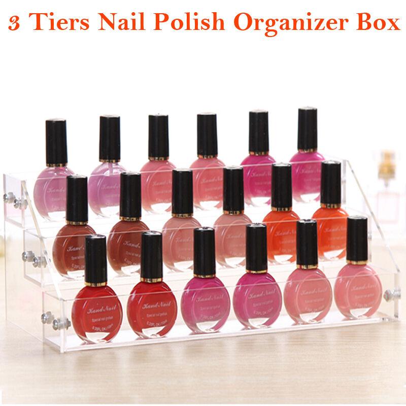 3-6 Tier Makeup Nail Polish Clear Acrylic Storage Organizer Rack ...