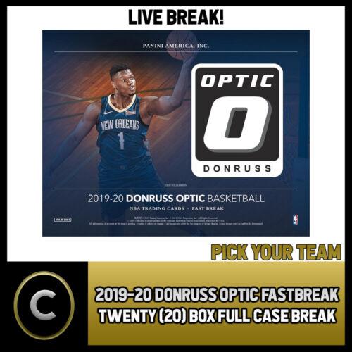 FULL CASE PICK YOUR TEAM BREAK #B337 2019-20 DONRUSS OPTIC FAST BREAK 20 BOX