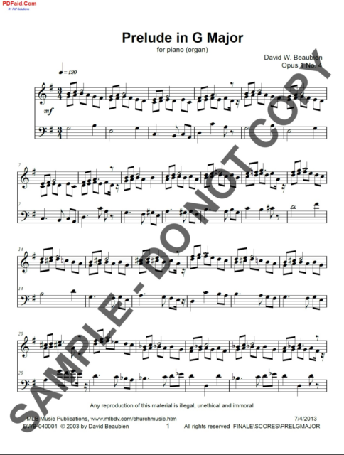 NEW Prelude in G major for organ (piano) DWB-040001 1 (PRLDG