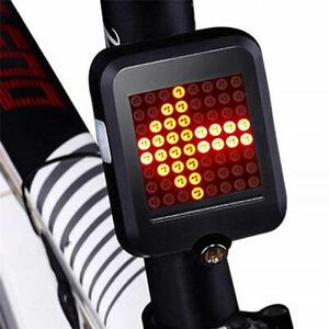 64LED MTB Bike Bicycle Tail Light USB Brake Turn signal Lamp Intelligent Sensor@