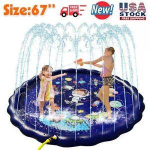 Kids Inflatable Water Spray Pad Sprinkler Mat Round Water Splash Play Pool Mat