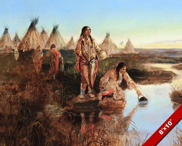 NATIVE AMERICAN INDIANS GETTING WATER OIL PAINTING ART REAL CANVAS GICLEE PRINT