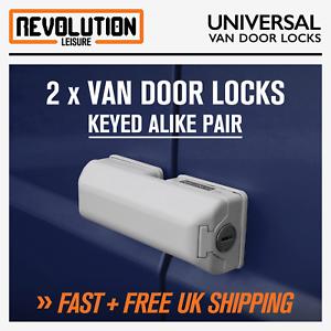 Universal Van Door Dead Locks White Twin Pack Fits Rear//Side Doors Van Security