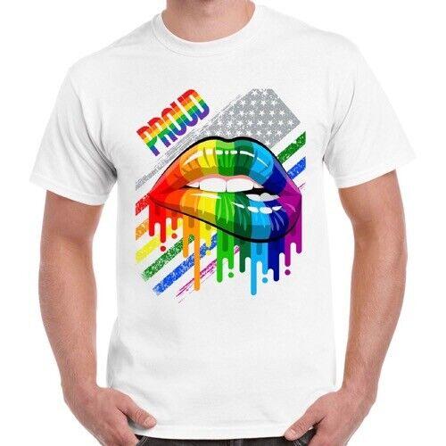Proud LGBT Rainbow London Soho Lips Gay Pride Gift Unisex Vintage T Shirt 2724