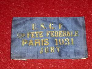 Coll-J-DOMARD-SPORTS-RARE-BRASSARD-53e-FETE-FEDERALE-USGF-PARIS-1931-Jury