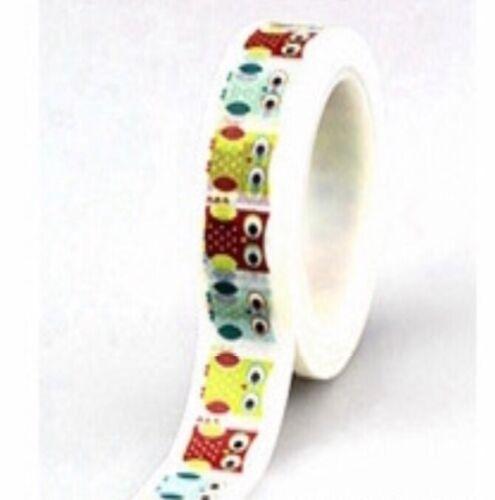 Decorative Sticky colourful Owl theme Washi tape roll.