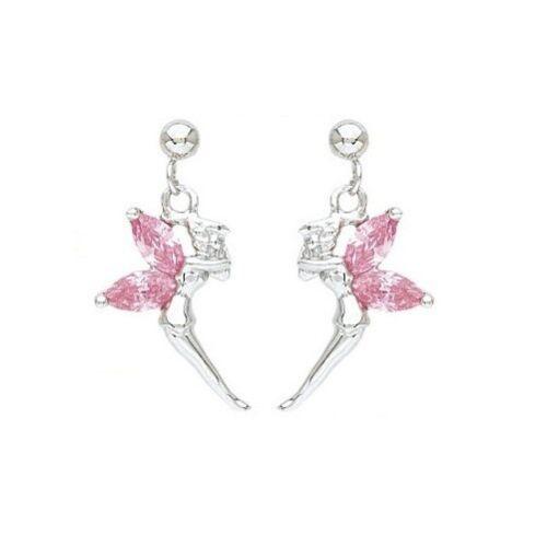 Boucles  Fée elfe argent & cristal Rose NEUF