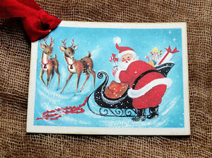 Hang Tags SANTA SLEIGH REINDEER CHRISTMAS TAGS or MAGNET #291 Gift Tags