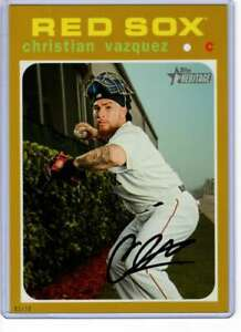 Christian-Vazquez-2020-Topps-Heritage-5x7-Gold-471-10-Red-Sox