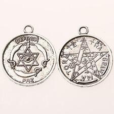 8pcs dark silver 27mm round shaped  DEFENSA swords eye patterns charms  h3082