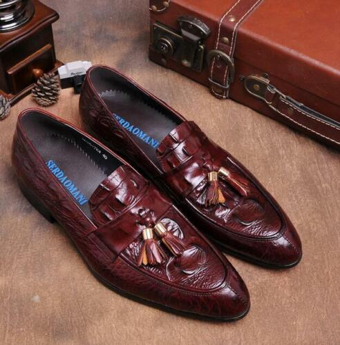 Details about  /Mens Alligator Pattern Dress Formal Business Tassels Pointy Teo Loafers Shoes Sz