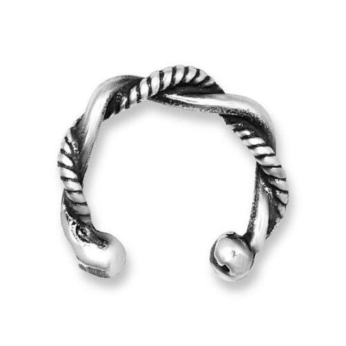 Bali Ear Cuff Solid Sterling Silver 925 Twisted Earcuff Clip 10 mm