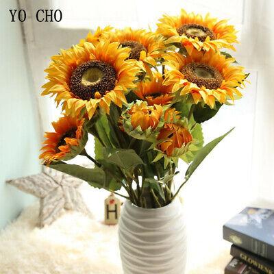 3 Heads Sunflower Artificial Flowers Silk Fake Wedding Home Desk Party  Decora