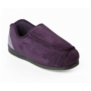 Padders PAULA Womens Ladies 4E/6E Extra Wide Fitting Touch Close Slippers Purple