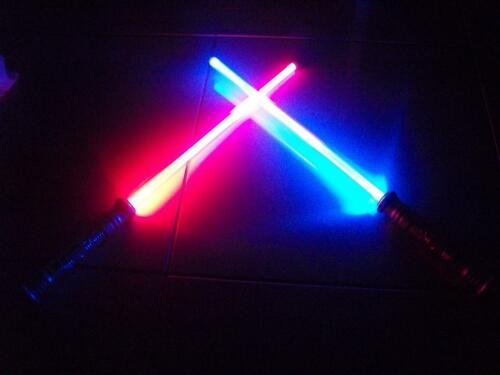 2 STAR WARS FX Led Lightsaber Saber Light Sword - CHANGES COLOR WHEN STRUCK GIFT