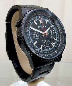 Rotary-Mens-Watch-Black-Ocean-Range-Chronograph-RRP-190-Genuine-Boxed-r51
