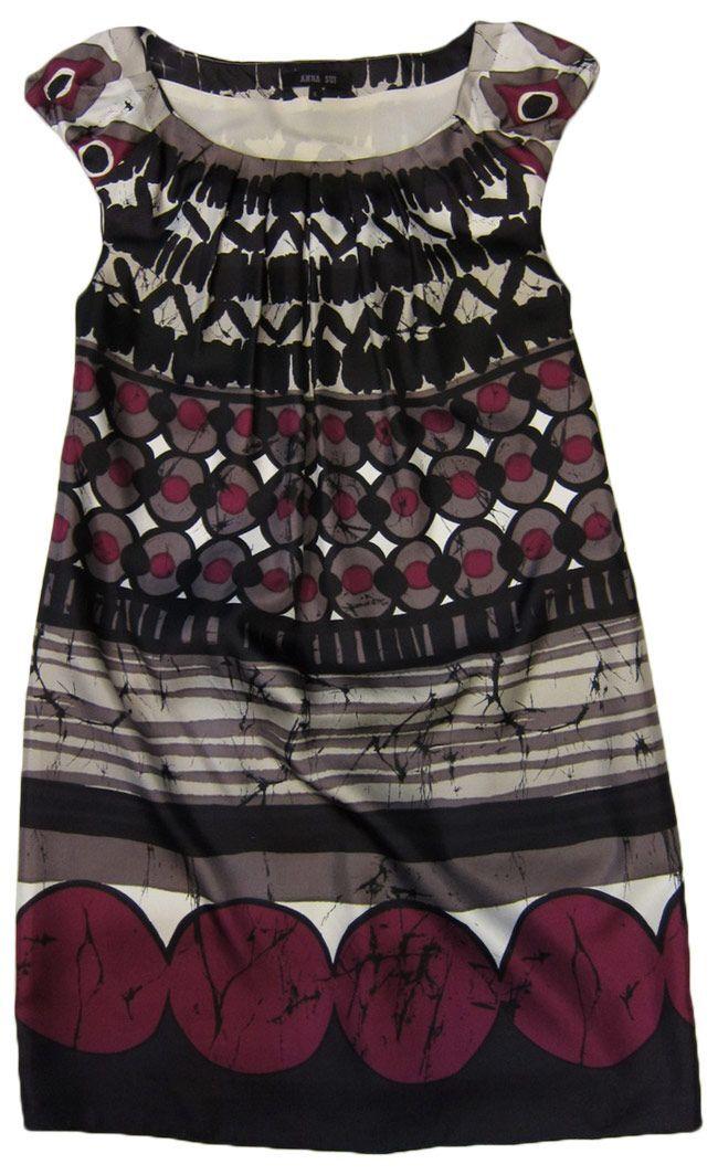 NEW ANNA SUI Silk mini-dress in geometric print Größe 4