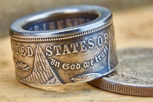 Coin-Ring-hand-made-from-Morgan-Silver-Dollar-Polished-Or-Patina