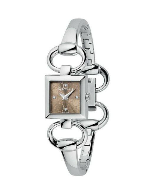 1721d6de189 Gucci YA120509 Tornabuoni 120 Series Square Brown Dial Women s Watch GREAT  GIFT