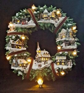 Thomas Kinkade Lighted Christmas Village Wreath Numbered Limited