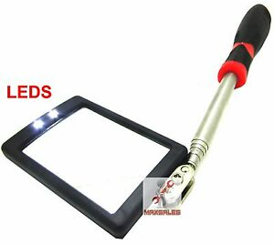Lighted Inspection Mirror Telescoping Illuminate Led