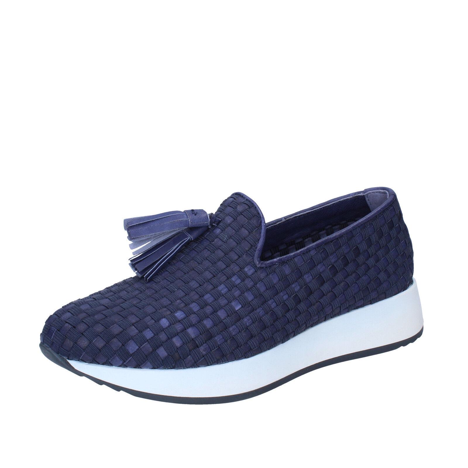 Zapatos señora emanuelle Vee 39 UE slip on azul textil, textil, textil, cuero bs22-39  colores increíbles