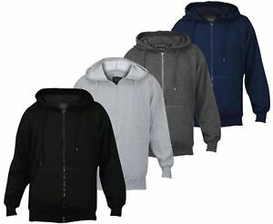 ab28fac2ebfb92 Image is loading Mens-Fleece-Plain-Hoodie-Sweatshirt-Hooded-Zipper-Top-