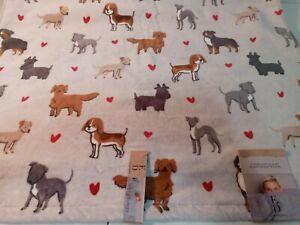 Ellen Degeneres Furry Friends Dogs Red Hearts Velour Decorative HAND Towel NWT