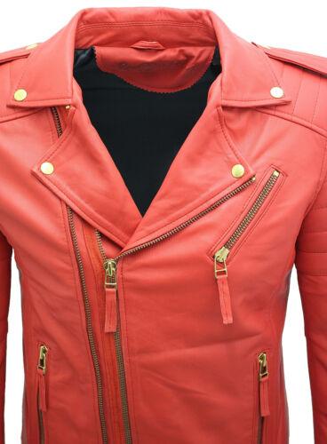 Homme Rouge Slim Fit Croix Fermeture Éclair Vintage Brando Cuir Veste Motard