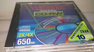 Verbatim-DataLifePlus-CD-RW-650MB-2x-4x-TWO-CD-039-s-sent-in-plastic-sleeves