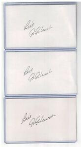 (3) BILL GOGOLEWSKI INDEX CARD SIGNED 1970-75 SENATORS RANGERS PSA/DNA CERTIFIED