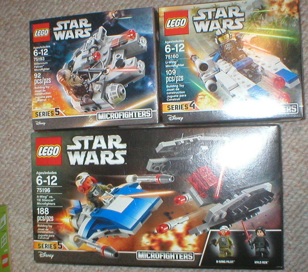 LEGO STAR WARS LOT OF 3 MICRO-FIGHTER SETS, ALL UNOPENED.