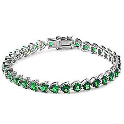 """Green Emerald Hearts .925 Sterling Silver Bracelet 7.25"""""""