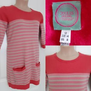 JOULES-Angora-Blend-Red-Pink-Stripe-3-4-Sleeve-Tunic-Jumper-Dress-Size-12
