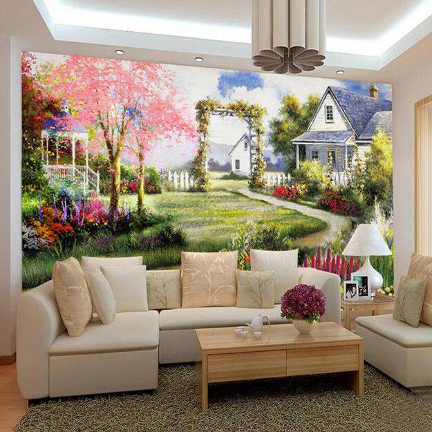 3D pink Baum Garten Hütte 93 Tapete Wandgemälde Tapete Tapeten Bild Familie DE
