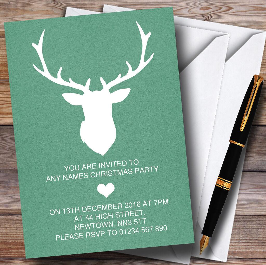 Te Te Te  er un voeu Green stag personnalisé noël party invitations 08016d